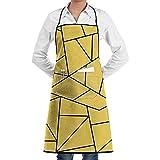 Reredith Delantal de Cocina con líneas de Mosaico Negro Amarillo Mostaza con Bolsillo Unisex Adecuado para Chef de Cocina