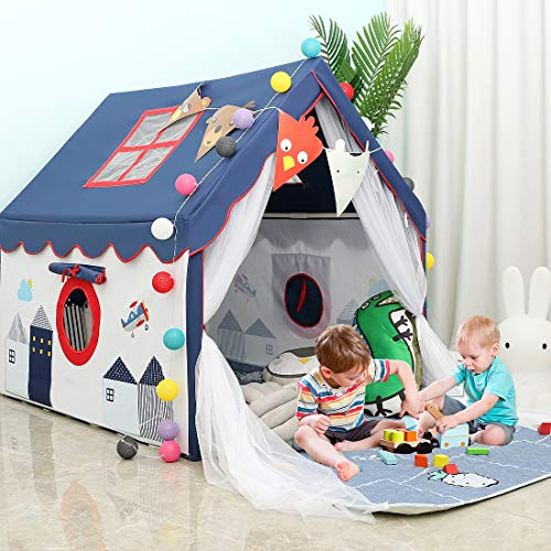 YOIKO Kids Tents Indoor Playhouses Boys 9.9Ft Star String Lights Blue Tent for Boys Upgraded Large Kids Indoor Tents and Playhouses Longer Curtain with Colorful Accessories Decoration 50.4' x 47.3'