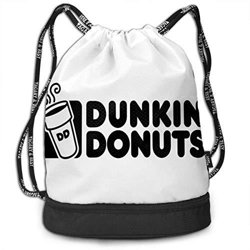 BGDFN HD Dunkin Donuts Großer Rucksack mit Kordelzug Faltbarer Multifunktions-Bundle Bag Sport Wasserdichter Rucksack