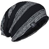 FORBUSITE メンズ帽子 ニットキャップ 大きいサイズのサマーニット帽 ビーニー ゆったり オールシーズン 男女兼用 B307 (ライトグレー ブラック)