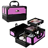 SORISE Makeup Train Case Professional 2 Trays Cosmetic Box with Aluminum Frame, Portable Cosmetic Organizer Storage Box, Violet