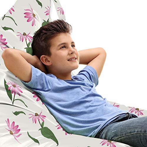 ABAKUHAUS Sonnenhut Unicorn Toy Bag Lounger Stuhl, Wiederholen von Blooms Leaves, Hochleistungskuscheltieraufbewahrung mit Griff, Rosa-Grün-Kakao