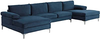 Amazon Com Sofamania Modern Large Velvet Fabric U Shape Sectional Sofa Double Extra Wide Chaise Lounge Couch Navy Furniture Decor