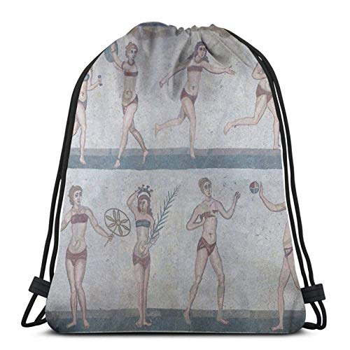 AOOEDM Bikini Girls Mosaic - Villa Romana Del Casale Sport Sackpack Mochila con cordón Bolsa de gimnasio Saco