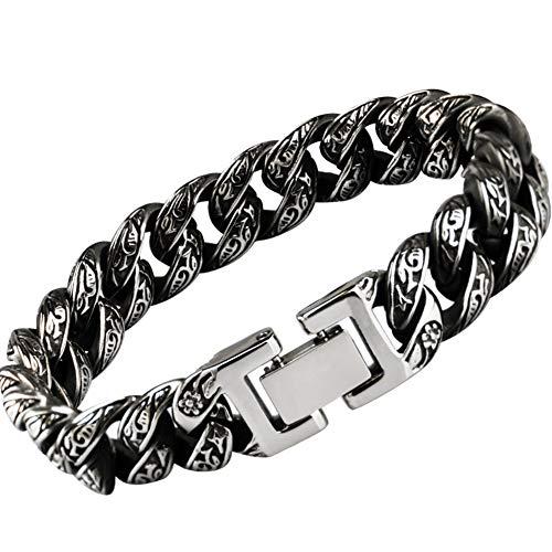 Dixinla Men's Vintage Black Engraved Bracelet, Harajuku Street Gothic Rock Style Classic Satan Symbol Titanium Steel Cuff, Jewelry for Father Boyfriend Bracelet,19CM