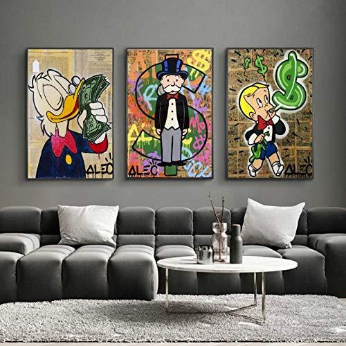 ZGZART Alec Monopoly Money Pinturas artísticas de Graffiti en la Pared Carteles e Impresiones de Arte Monopoly Dollar Cuadro de Arte de Pared Decoración Moderna para el hogar -40x60cmx3 (Sin Marco)