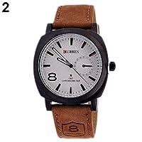 CURREN マンズ 革バンド 腕時計 レザーウォッチ (ホワイト)