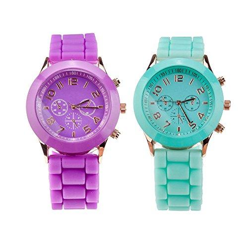 Set de 2Elegante Silicona Cuarzo muñeca Relojes/Relojes de Pulsera en Color Turquesa Fluorescentes y Morado Colores por VAGA