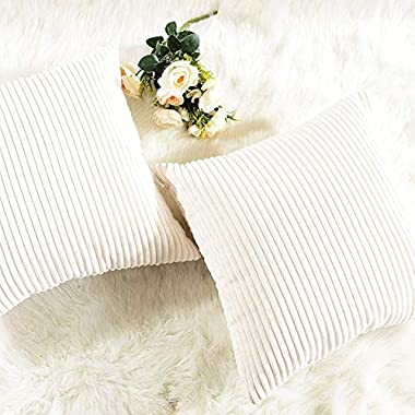 HOME BRILLIANT Decorative Accent Pillow Covers Case Striped Corduroy Plush Velvet Cushion Cover for Couch, Set of 2, Cream Cheese, 18x18-inch (45cm)