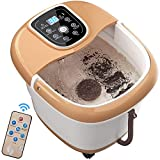COSTWAY Foot Spa Bath Massager, Foot Bath Tub with 6 Automatic Massage Rollers, Adjustable Time & Temperature, Surfing & Heating, Bubbles, Auto-massage and Infrared Light, for Relieve Foot Pressure