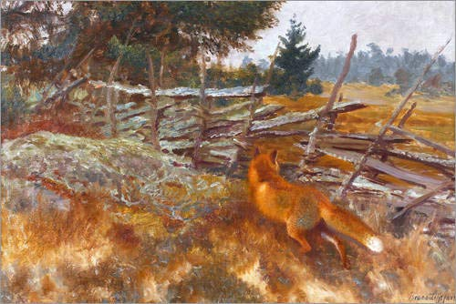 Posterlounge Leinwandbild 100 x 70 cm: Jagd von Bruno Andreas Liljefors - fertiges Wandbild, Bild auf Keilrahmen, Fertigbild auf echter Leinwand, Leinwanddruck