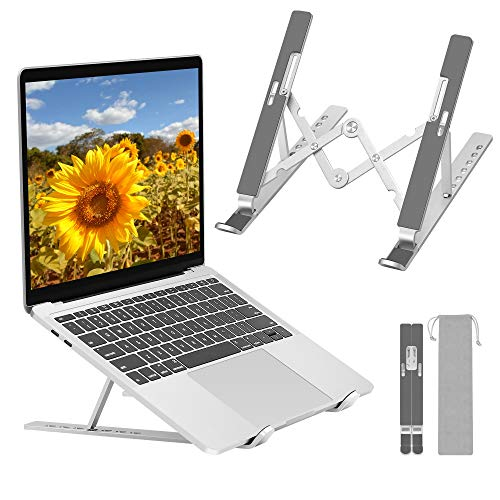 """Laptop Stand, Adjustable Folding Stand for Desk, Universal Non-slip Ventilated Laptop Riser, Portable Ergonomic Notebook Mount, Compatible with 10-17"""" Laptops&Tablets& Phone"""