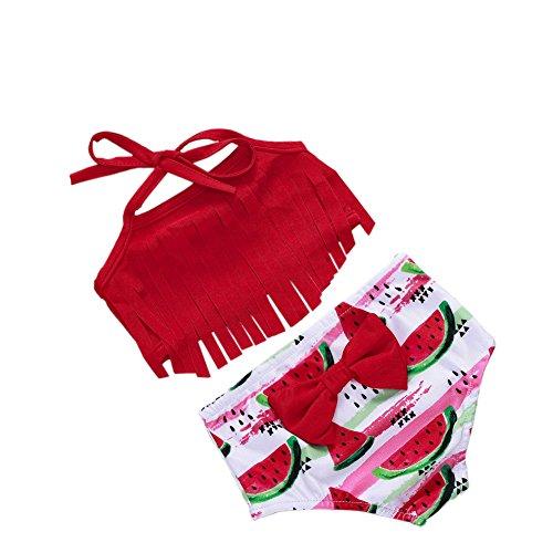 Roupa de banho infantil e infantil com borlas e estampa de melancia fresca, Vermelho, 12-18 meses