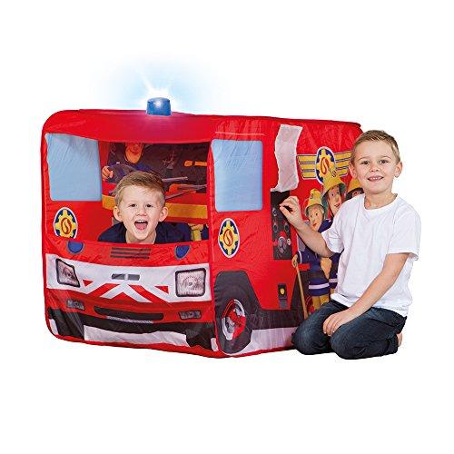 John 78208 Feuerwehrauto Sam mit Blaulicht-Spielzelt, Feuerwehrzelt, Kinderzelt, Spielhaus mit Gedrucktem Motiv für Kinder, Rot