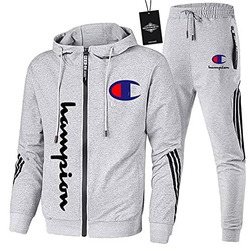 MQJUNZE de Los Hombres Chandal Conjunto Trotar Traje Hooded Zipper Chaqueta + Pantalones Deporte Sudadera Suéter Niños/gray/XL