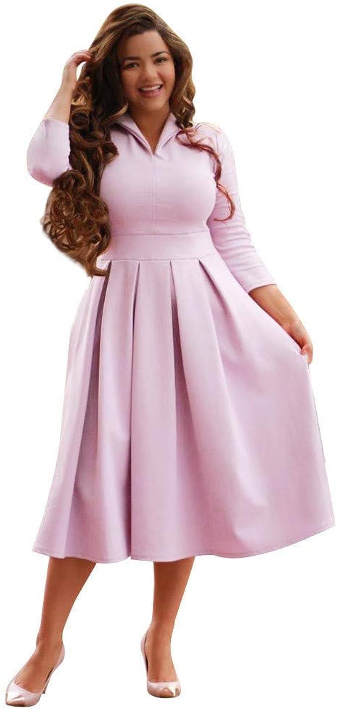 Kleid Kleider Sommerkleider Langarm Damen Rosa Vokuhila Knielang Midi Petticoat Elegant Vintage Sexy Schickes A Linien Swing Rockabilly Tailliertes Lockeres Amazon De Bekleidung