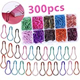 300 Pieces Safety Bulb Pins,10 Colors Calabash Crochet Stitch Markers, Metal Safety Pins for Knitting and DIY Project with Storage Box