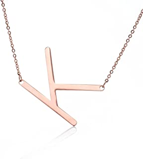 Fairy Whisper Stainless Steel Rose Gold Initial Alphabet A-Z Pendant Necklace