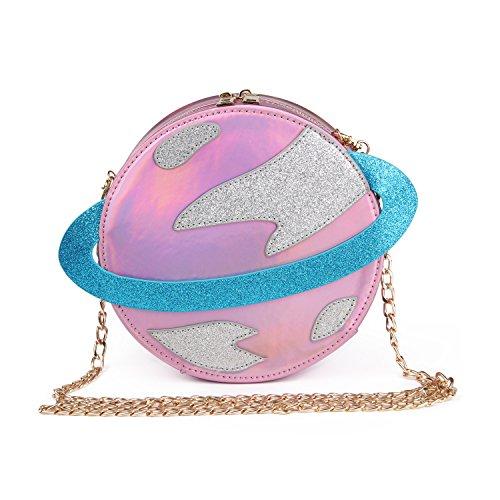 LUI SUI-Stunning Parent-child Circular planet party bag women Bestie handbag laser planet orbit bag cute shoulder bag C54 (Parent, Pink)