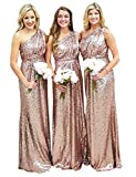 Sarahbridal Women's Empire Waist Sequin Prom Party Dresses One Shoulder Bridesmaid Maxi Gowns Rose Gold US18
