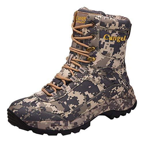 Botas Militares de Camuflaje Hombre Calzado Deportivo Transpirables Zapatos duraderos Desierto Al Aire Libre Senderismo Botas de Cuero Zapatos de Combate Zapatillas Altas