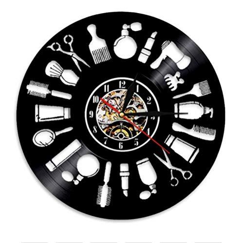 Disco de Vinilo Reloj de Pared barbería Silent Hollow out CD Retro 12' Reloj de Cuarzo Regalos para niños y Amigos Reloj de Pared Colgante Creativo - con luz LED