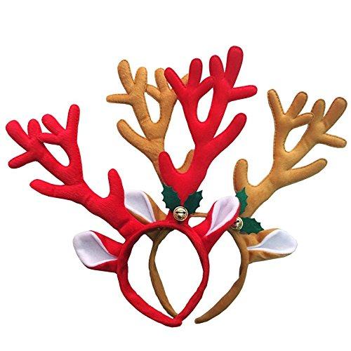 Toyvian Diadema de Asta de Alces Ciervo de Navidad con Campana para Disfraz de Navideño de Adultos y Niños (Rojo)