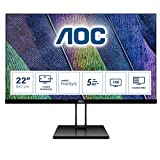AOC 22V2Q Monitor LED da 21.5' IPS, FHD, 1920 x 1080, Senza Bordi, HDMI, DP, Nero