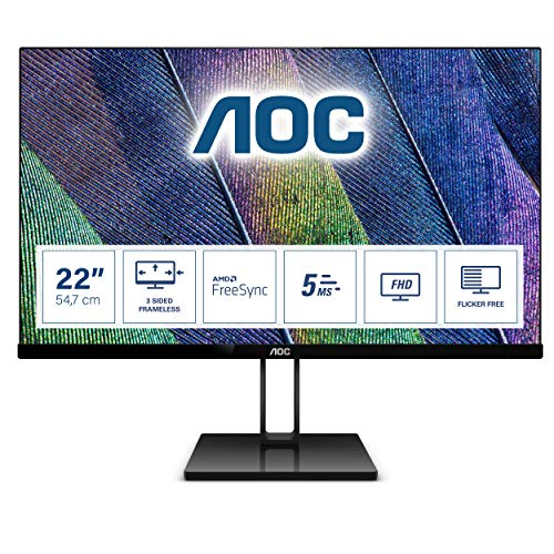 AOC 22V2Q - 22 Inch FHD Monitor, 75Hz, 5ms, IPS, AMD FreeSync, Ultra Slim, FlickerFree, LowBlue mode...