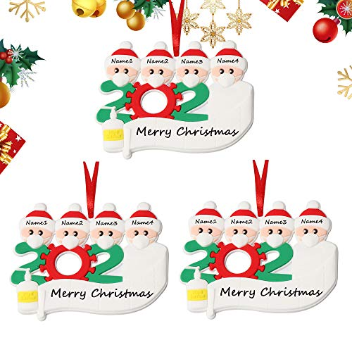 2020 Family Christmas Ornament Quarantine - Customized Christmas Decorating Kit with Toilet Paper Creative Gift of Family(4 People) 3pcs