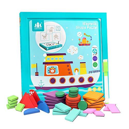XIAPIA Puzzle Tangram Magnetico Pizarra Infantil Magnética 58 Piezas Puzzle Madera Montessori Juegos Educativos con Rompecabezas Juguetes Niños 3 Años Doble Cara Tablero de Dibujo