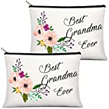2 Pieces Grandma Presents Best Grandma Ever Makeup Bag, Portable Travel Cosmetic Pouch for Mother's Day, Birthday Christmas Presents for Grandmother, Nana Present from Granddaughter (Vivid Pattern)