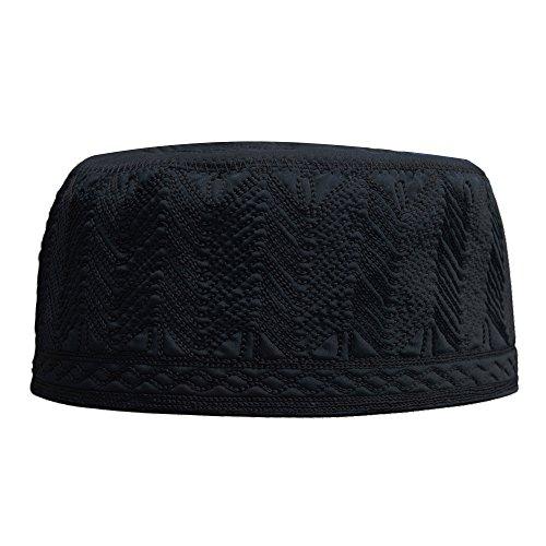 Beautiful Black Embroidered Cotton Kufi Muslim Kufi Takke Peci Kofia Hat – Large – 4X Available (XXXXL)
