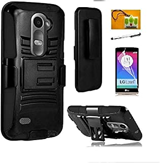 LG Leon C40 / LG Leon H320/ LG Destiny L21G /LG Power L22C/ (T-Mobil / Metro-PCS / Tracfone / Net10), LF 4 in 1 Bundle Hybrid Armor Stand Case with Holster and Locking Belt Clip, Lf Stylus Pen, Screen Protector & Droid Wiper Accessory (Holster Black)