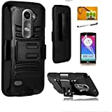 LG Power L22c (Tracfone / Net10) / LG Risio (Cricket) / LG Tribute 2 LS665 (BoostMobil), LF 4 in 1 Bundle, Hybrid Armor Stand Case with Holster and Locking Belt Clip, Lf Stylus Pen, Screen Protector & Droid Wiper Accessory (Holster Black)