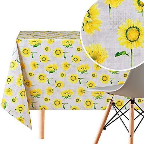 Mantel de hule resistente de PVC con acabado de vinilo al óleo lavable con acabado de piel de aceite, color gris con girasoles amarillos.