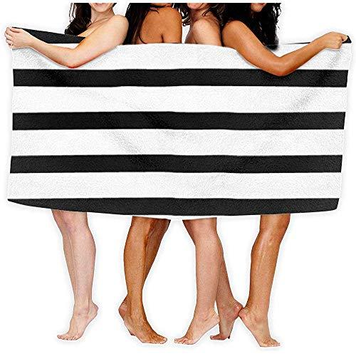 Edmun Toalla de baño Rayas Blancas Negras Secado rápido rápido Súper Absorbente Ultra Ligero Ligero Compacto Manta de Playa de Viaje al Aire Libre para baño de Gimnasia