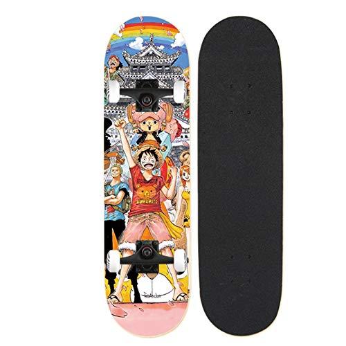 QINGQING Anime Skateboard Decks Luffy 7 Schichten Ahornholz Deck Skateboards