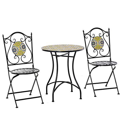 Outsunny Set Tavolo e Sedie da Giardino 3 Pezzi, Mobili da Esterno Pieghevoli in Metallo con Maioliche Colorate