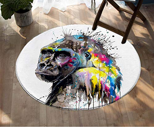 Mianbao Runder Teppich Ich Sehe die Zukunft durch kalte Kunst Aquarell Teppiche Tier Tier Bodenmatte für Erwachsene Schlafzimmer Ende Perso Nality 200 cm