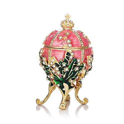 QIFU - Joyero pequeño Pintado a Mano con Forma de Huevo de Faberge, con Esmalte Rico y Brillantes Diamantes de imitación, decoración del hogar