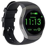 AGPtEK KW18 Téléphone Bluetooth montre intelligent, 1,3 pouces IPS AMOLED écran tactile rond résistant à l'eau avec fente pour carte SIM, soutien SIM TF moniteur de sommeil, moniteur de fréquence cardiaque et podomètre pour IOS téléphone intelligent Samsung S5 / Note 3/4/5, Nexus, HTC, SONY, HUAWEI et autres smartphones Android (Noir)