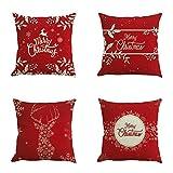 Handfly Juego de 4 Fundas de Almohada de Navidad, Fundas de Almohada Decorativas de Navidad Funda de cojín de sofá Funda de Almohada de muñeco de Nieve de Navidad Funda de cojín de Chrismas