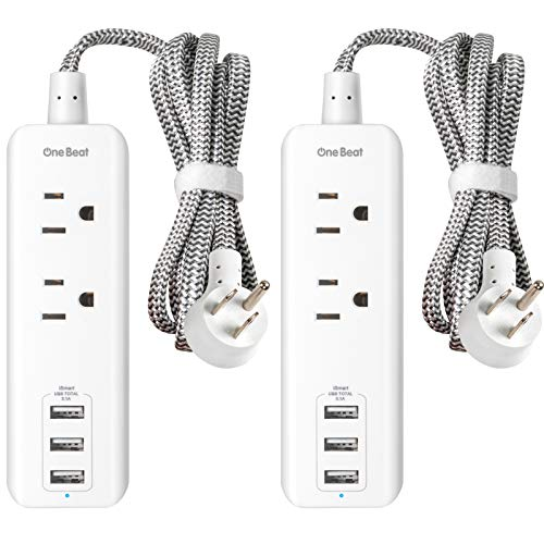 2 Pack Power Strip with USB, 2 Outlets and 3 USB Ports(3.1A, 15W) Travel Power Strip, Desktop Charging Station with 5 ft Braided Extension Cord, Flat Plug for Cruise, Home and Office , ETL Listed