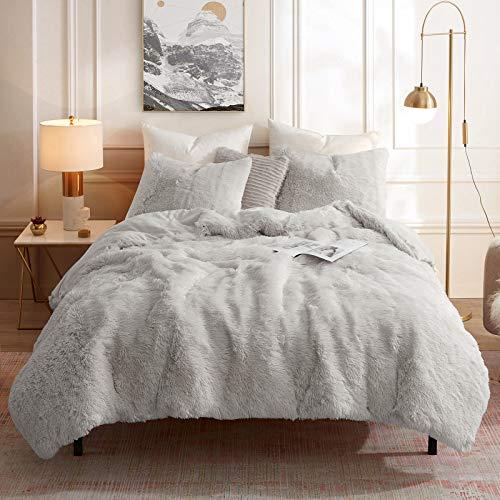 Faux Fur Duvet Cover Set Plush Shaggy Fluffy Fuzzy Soft Warm Cozy Velvet Comforter Bedding Cover with Ties Zipper Closure (1 Duvet Cover + 2 Pillowcase,NO Inside Filler)(Queen Size , Light Grey)