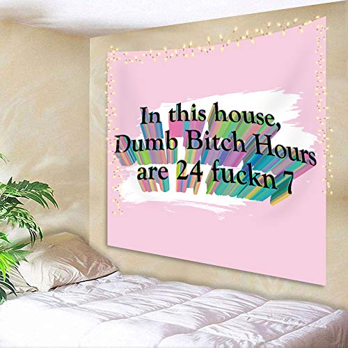 AMBZEK In This House Dumb Hours are 24 Fuckin 7 Tapestry 51Hx59W Boutique Funny Quote Letter Positive Saying Vintage Art Wall Hanging Bedroom Living Room Dorm Decor Fabric Colorful