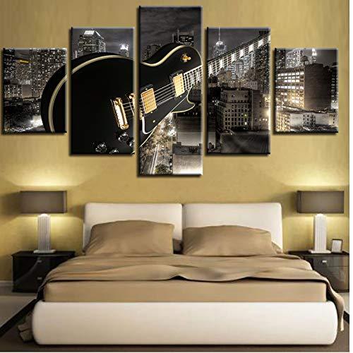 Home Decor Canvas Woonkamer HD Gedrukt Moderne 5 Panel Gitaar Bouwen Muziek Afbeeldingen Schilderen Muur Kunst Poster -30x40 30x60 30x80cm Geen Frame