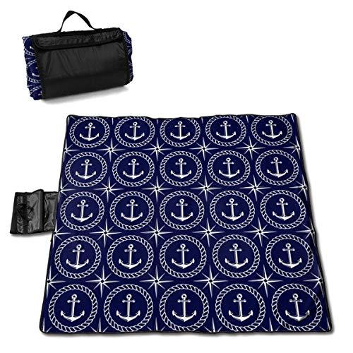 Tyyyy Nautisches nahtloses Muster mit Anker-Picknickdecke mit handfestem wasserdichte Faltbare Picknickmatte für Camping Beach Park Lawn