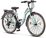 Licorne Bike Bicicleta de ciudad Stella Premium de 24,26 y 28 pulgadas, para niños, hombres y mujeres, cambio Shimano de 21 velocidades, bicicleta holandesa, Mujer, verde menta, 28