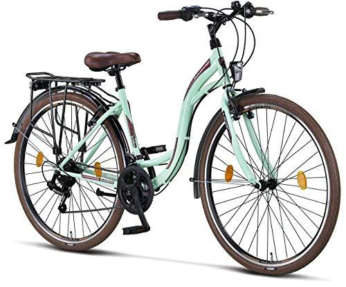 Licorne Bike Stella (Mint) 28 Zoll Damenfahrrad,CTB ab 160 cm, Fahrrad-Licht, Shimano 21 Gang-Schaltung, Damen-Citybike, Retro, Holland, Amsterdam, Mint
